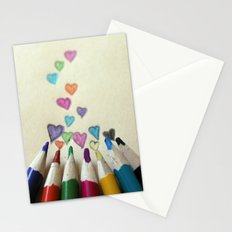 pencil crayon love Stationery Cards