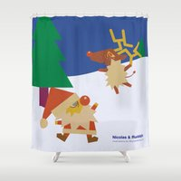 nicolas cage Shower Curtains featuring Nicolas&Rudolph by shunsuke art