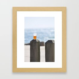 BEER DAY AT THE BEACH Framed Art Print