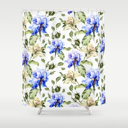Irisis and lilies - flower pattern no3 Shower Curtain