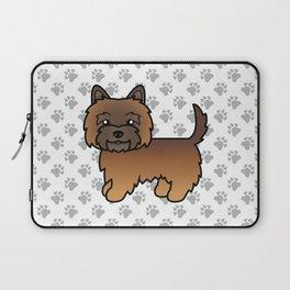 Cute Red Brindle Cairn Terrier Dog Cartoon Illustration Laptop Sleeve