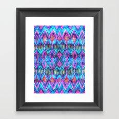 Ikat #32 Aqua Framed Art Print