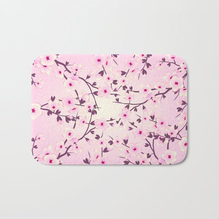 Cherry Blossoms Pink Bath Mat