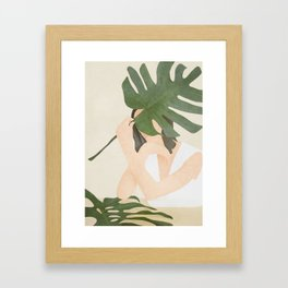 Under the Monstera Leaf Framed Art Print