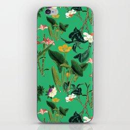 Vintage wild flowers green iPhone Skin