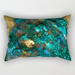 Teal Oil Slick and Gold Quartz Rectangular Pillow