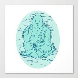Gautama Buddha Lotus Pose Drawing Canvas Print