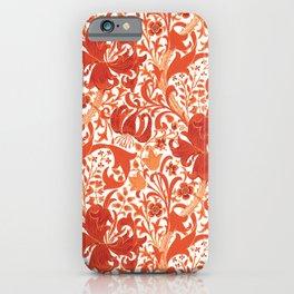 William Morris Iris and Lily, Mandarin Orange iPhone Case