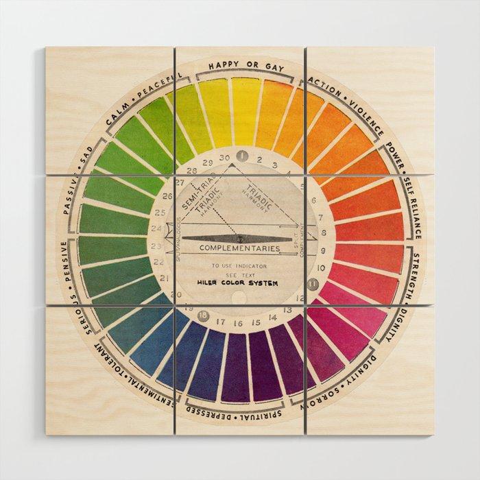 Vintage Color Wheel - Art Teaching Tool - Rainbow Mood Chart Pride Wood Wall Art