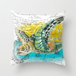 Sea Turtle Watercolor Vintage Map Throw Pillow