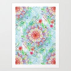 Messy Boho Floral in Rainbow Hues Art Print