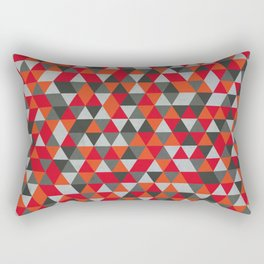 Hot Red and Grey / Gray -  Geometric Triangle Pattern Rectangular Pillow