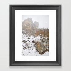 Into the snowstorm.... Framed Art Print