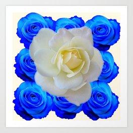 DECORATIVE WHITE & BLUE ROSES GARDEN ART Art Print