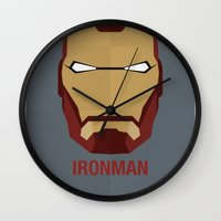 ironman Wall Clocks featuring IRONMAN by Alejandro de Antonio Fernández