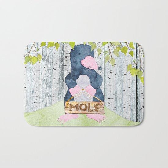 The busy Mole - Woodland Friends- Watercolor Illustration Bath Mat