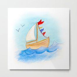 Watercolor whimsical sail boat on a windy day Metal Print
