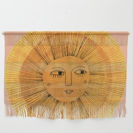 Sun Drawing Gold and Pink Wall Hanging