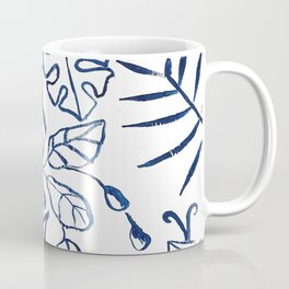 Tropical Plant Boho Chinoiserie Blue and White Coffee Mug