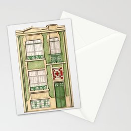 vintage town house Stationery Cards