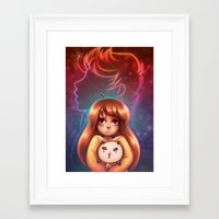 bee and puppycat Framed Art Prints featuring Bee and Puppycat by Dani Taillefer