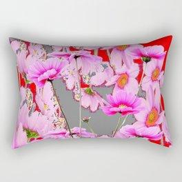 MODERN FUCHSIA  PINK FLOWERS  GREY & RED ABSTRACT ART Rectangular Pillow