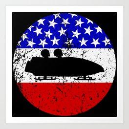 American Flag Bobsledding Art Print