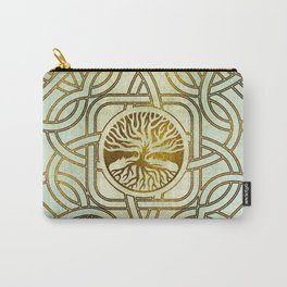 Golden Tree of life  -Yggdrasil on vintage paper Carry-All Pouch
