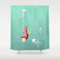 diver Shower Curtains featuring Diver by Freeminds