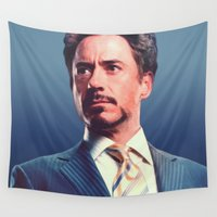 robert downey jr Wall Tapestries featuring R. Downey Jr. **** by Hands in the Sky