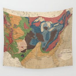 Vintage United States Geological Map (1872) Wall Tapestry