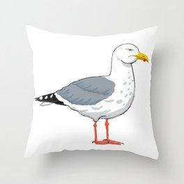 Angry Seagull 2 Throw Pillow