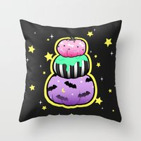 pastel goth Throw Pillows featuring Pastel Goth Pumpkin Stack by MagicCircle