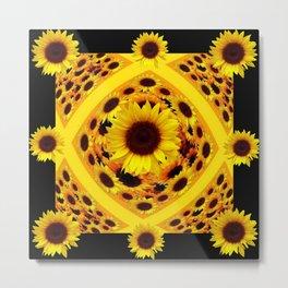 ABSTRACT BLACK GOLDEN YELLOW SUNFLOWER PATTERN Metal Print