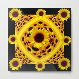 ABSTRACT BLACK GOLDEN YELLOW SUNFLOWER PATTERN Metal Print
