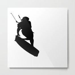 A Kitesurfers Freestyle Silhouette Metal Print