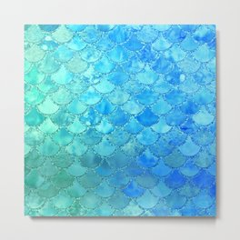 Summer Dream Colorful Trendy Mermaid Scales Metal Print