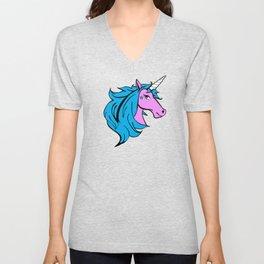 Colorful Cartoon Unicorn - Blue Unisex V-Neck