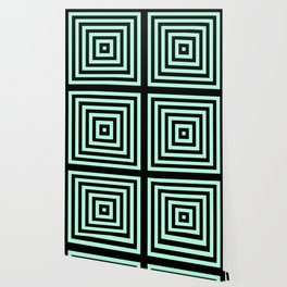 Graphic Geometric Pattern Minimal 2 Tone Infinity Square Shapes (Mint Minty Green & Black) Wallpaper