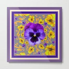 PUCE PANSIES YELLOW BUTTERFLIES & FLOWERS Metal Print