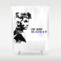 david tennant Shower Curtains featuring David Tennant Dr. Who - The Doctor is In by Noal's Corner