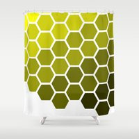 honeycomb Shower Curtains featuring Honeycomb by Taylor Steiner