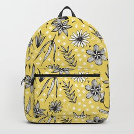 black and white floral on yellow Backpack
