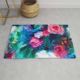 Watercolor Rose Medley with Sea Blue and Teal Rug