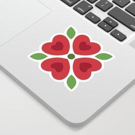 Christmas Heart Flowers Sticker