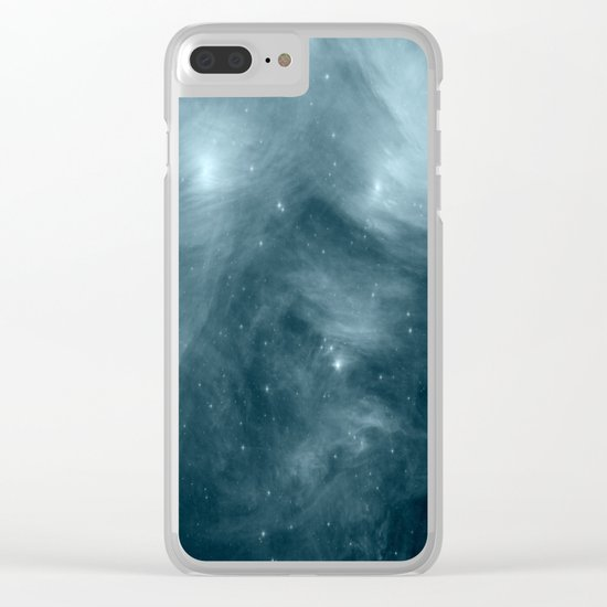 Galaxy : Pleiades Star Cluster NeBula Steel Blue Clear iPhone Case