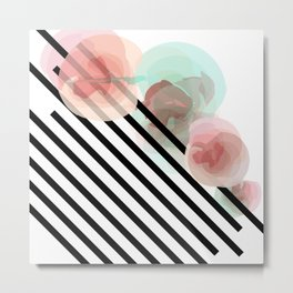 Watercolor Floral with Stripes Metal Print