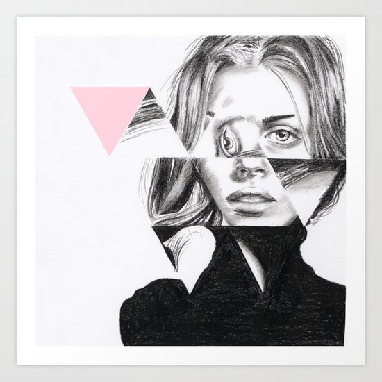 Triangles #1 pale pink Art Print