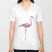 flamingo V-neck T-shirts featuring Flamingo by Three of the Possessed