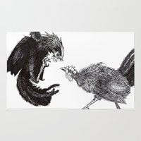 cock Area & Throw Rugs featuring Cock Fight by Kayla Lane Burdon